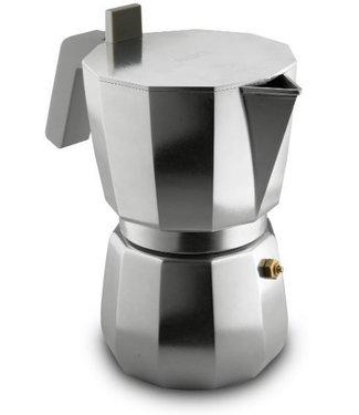Alessi Alessi Espressokocher aus Gußaluminium. Griff und Knopf aus PA, grau. Magnetboden aus Stahl für Induktionsherde geeignet. Einschließlich Filter für Caffè Americano. 9 Tassen.