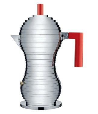 Alessi Alessi Espressokocher aus Gußaluminium. Griff und Knopf aus PA, rot. Magnetboden aus stahl für Induktionsherde geeignet. 3 Tassen.