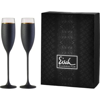 Eisch Glas Sektgläser/Champagnerglas Exklusiv gold/schwarz - 2 Stück im Geschenkk.