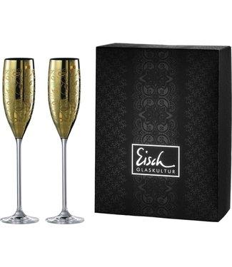 Eisch Glas Sektgläser/Champagnerglas Exklusiv gold - 2 Stück im Geschenkk.