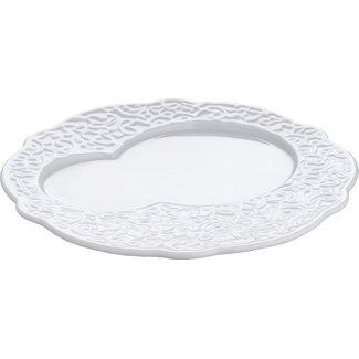 ALLESI Frühstück-Teller aus weissem 4er Set mit Reliefdekor