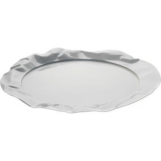 ALESSI Foix Tablett, rund aus Stahl, epoxidharzlackiert, Milky White