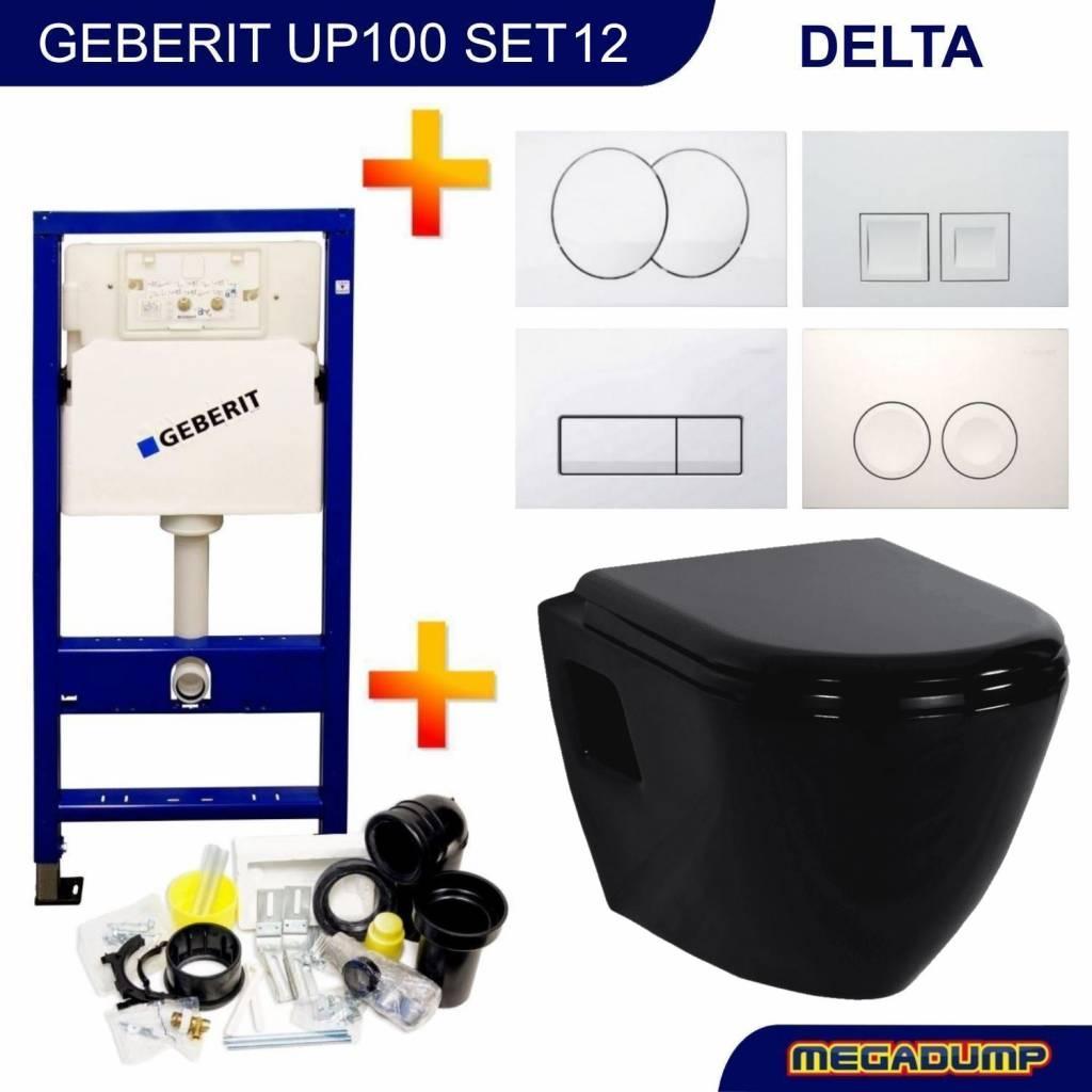 Up100 Toiletset 12 Creavit Tp325 Zwart Met Bril En Drukplaat