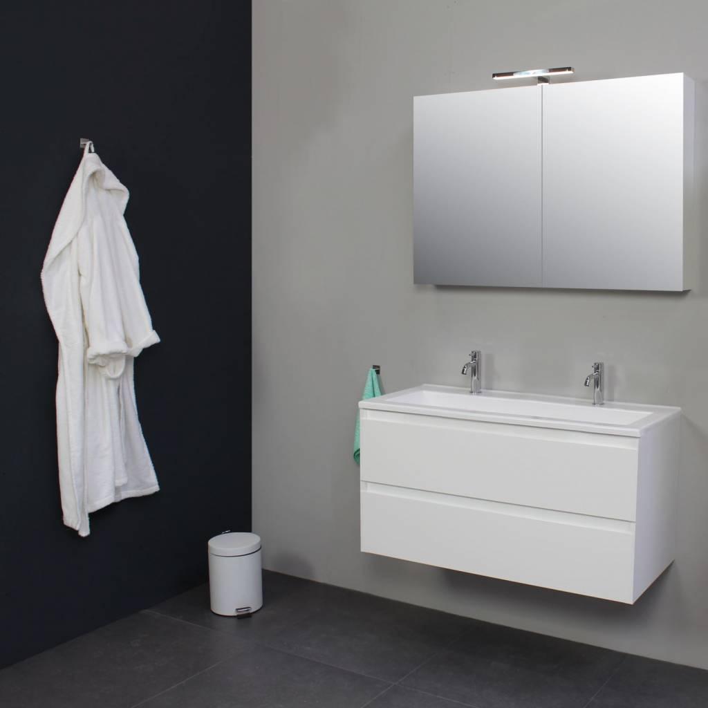 Badkamermeubelset Met Acryl Wastafel 100 cm 2 Kraangaten Incl Spiegelkast Wit Ink