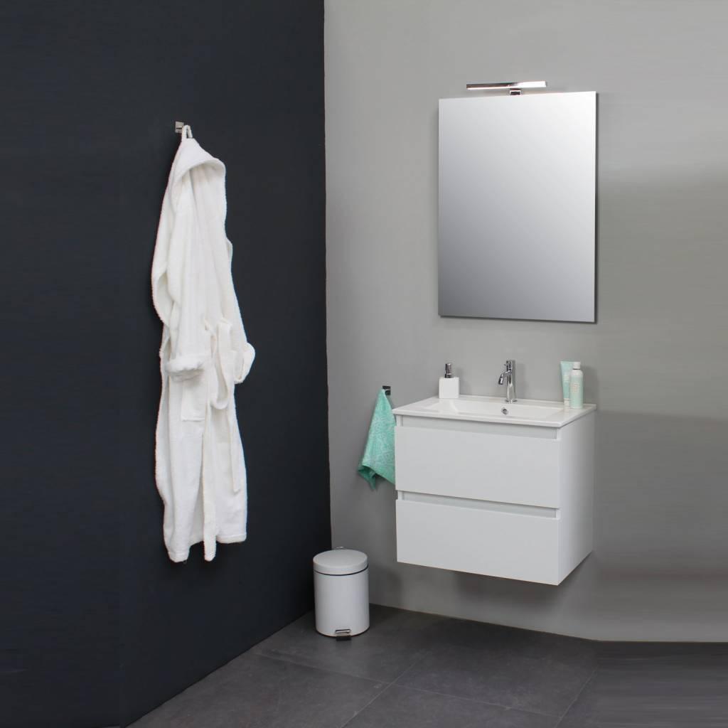 Wasbak Met Spiegel.Badkamermeubelset Met Porseleinen Wastafel 60 Cm 1 Kraangat Incl Spiegel Wit Badmeubelsets