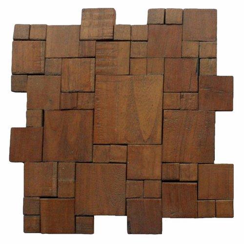 Mozaïek Hout Square Random Old Teak (P 02) 30X30 Cm (Prijs Per 1M²)