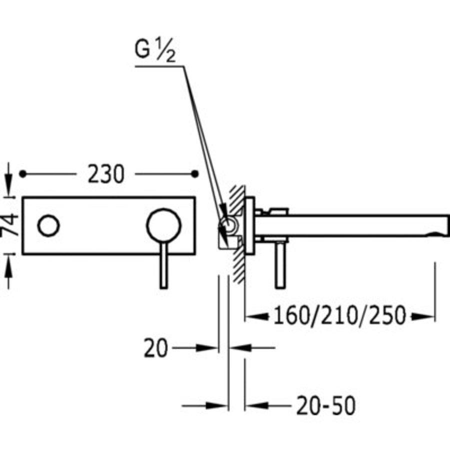Alp Inbouw mengkraan 160mm 20321001