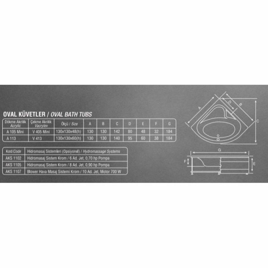 Hoekbad Creavit Acryl 130x130x60 cm Wit