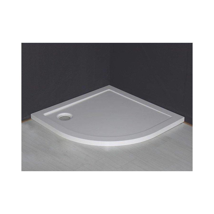 Luxe Douchebak Kwart Rond 90X900X4 Cm Inbouw Wit