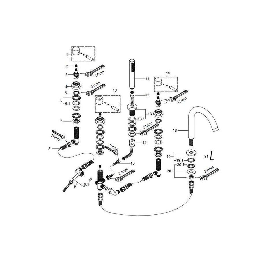 Amon Round 5-Gats Badrandcombinatie Chroom