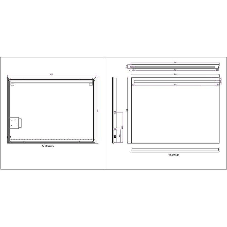 Ambi+ Condensvrije Spiegel 80X60 Cm Met Dimbare Led Verlichting