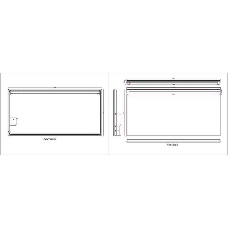 Ambi+ Condensvrije Spiegel 120 X 60 Cm Met Dimbare Led Verlichting