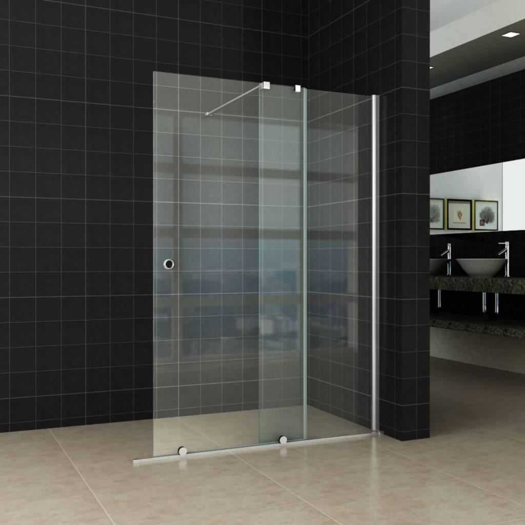 Vaste Douchewand Glas.Aqua Splash Schuif Inloopdouche Op Rail 10mm Nano Glas 128 217cm