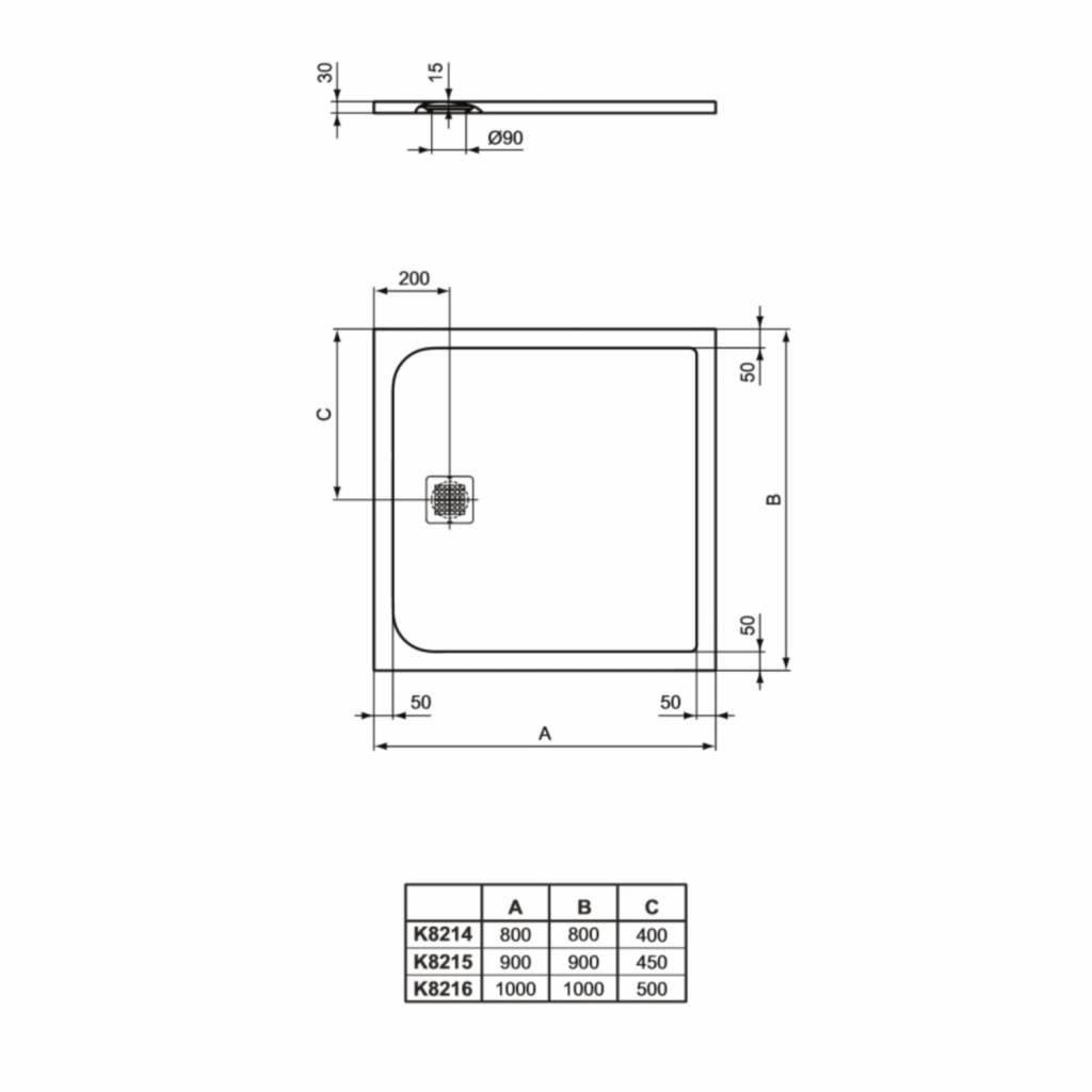 Afmetingen Douchebak Inloopdouche.Douchebak Ideal Standard Ultra Flat Solid Vierkant In 3 Afmetingen