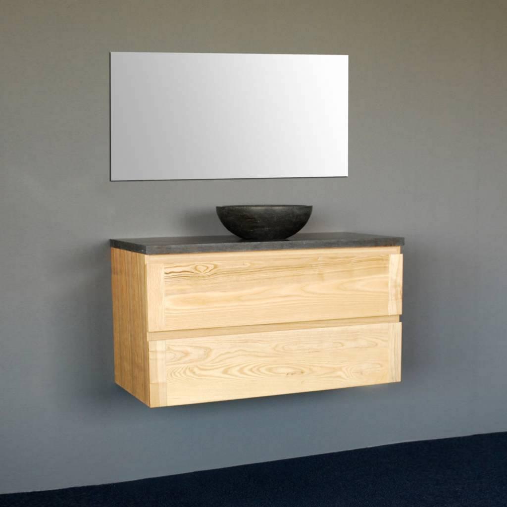 Sanilux badkamermeubel met waskom Wood Dynasty Inclusief Spiegel  Wood 60 cm  Ronde Waskom