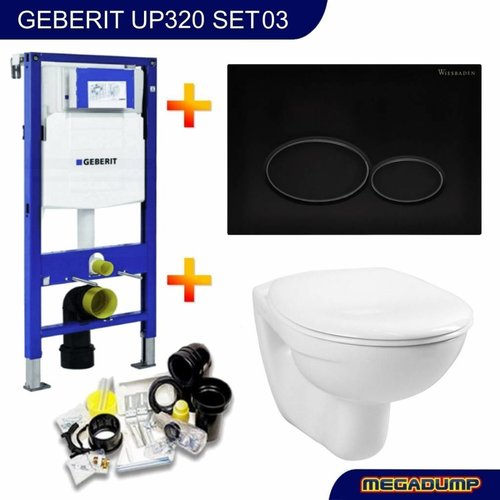 UP320 Toiletset 03 Megasplash Basic Smart Met Matzwarte Drukplaat