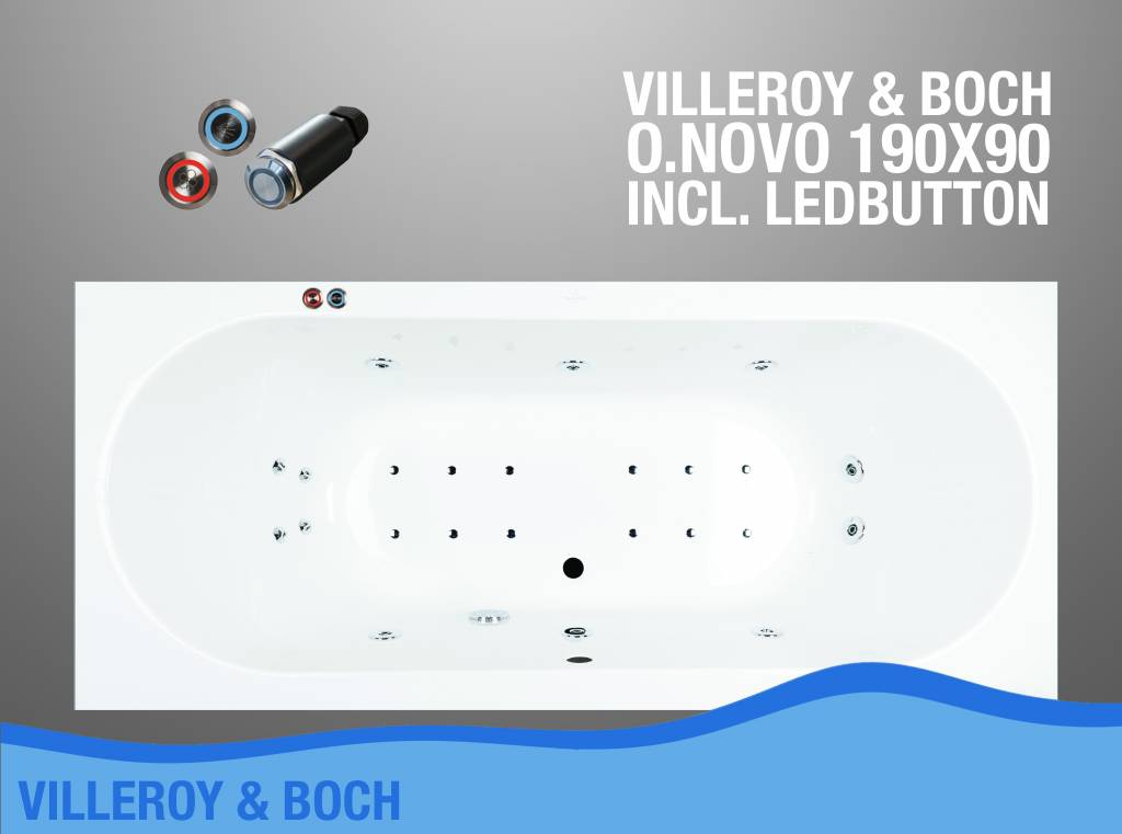 O.Novo Whirlpool 190X90X50 Cm Met Balboa Whirlpool Bad Systeem