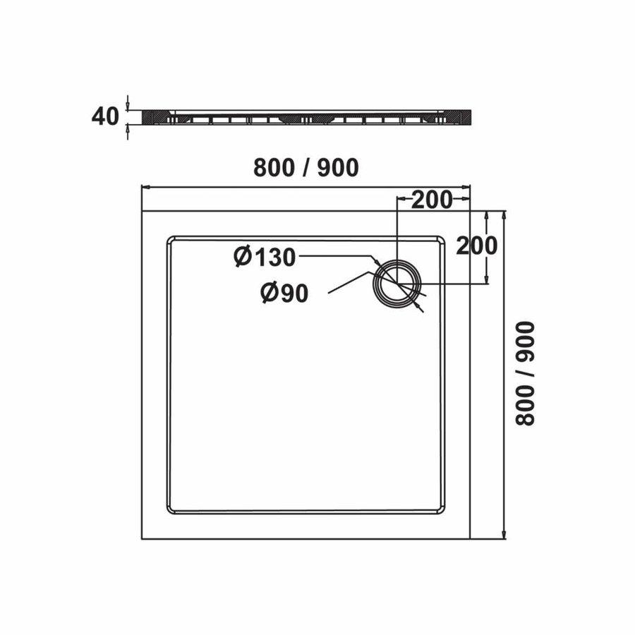 Fusion Douchebak Vierkant Inbouw 90X90X4 Cm