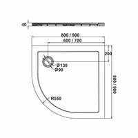 Fusion Douchebak Inbouw Kwartrond 80X80X4 Cm
