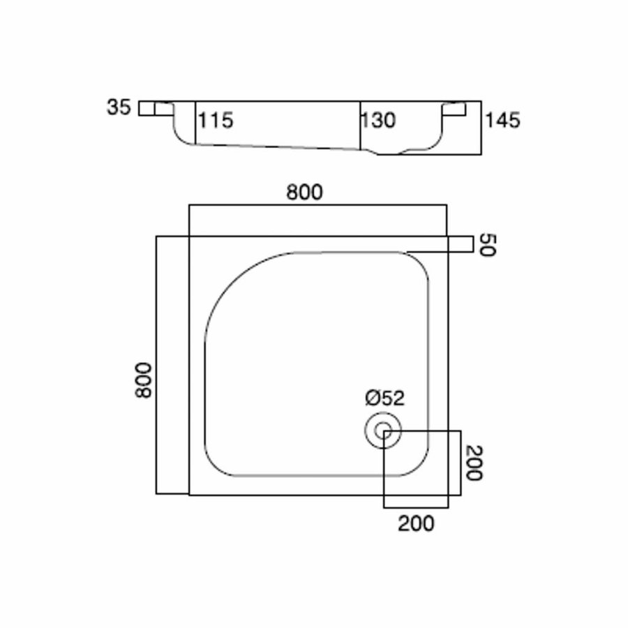 Douchebak Inbouw Quadra Vierkant 80X80X3,5 Cm