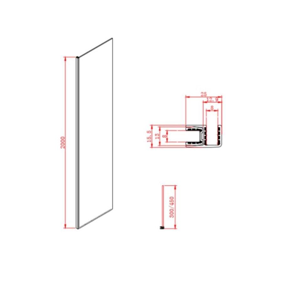 Inloopdouche Megaline Black 30x200cm Helder Glas Met Wandbeugel
