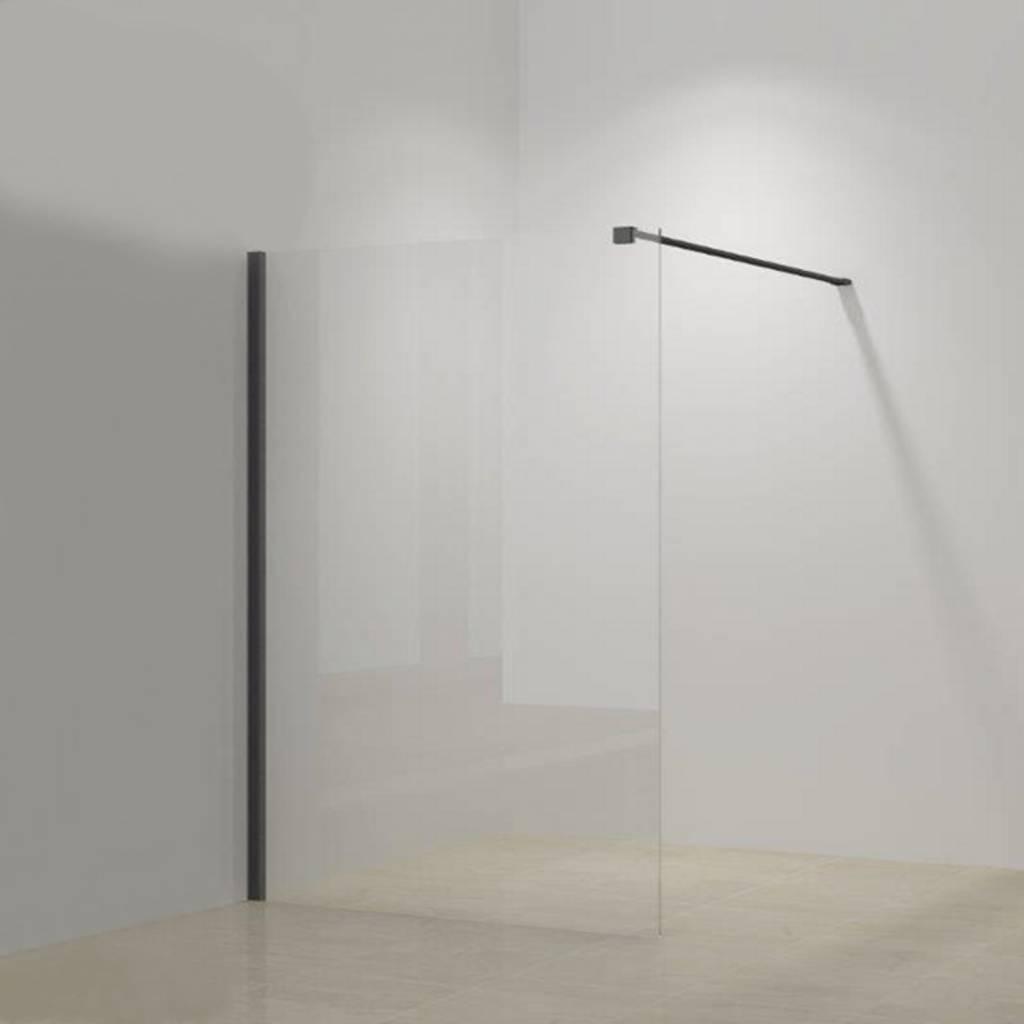 Inloopdouche Megaline Black 60x200cm Helder Glas Met Wandbeugel kopen met korting