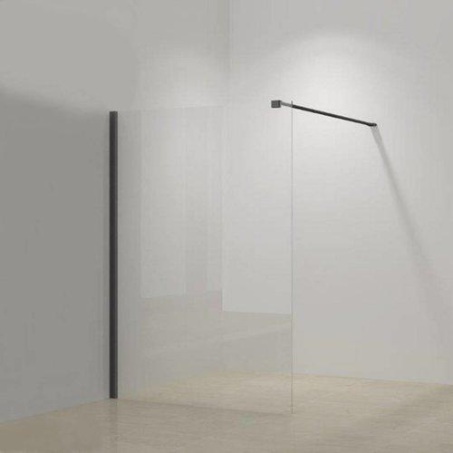 Inloopdouche Megaline Black 100x200cm Helder Glas Met Wandbeugel