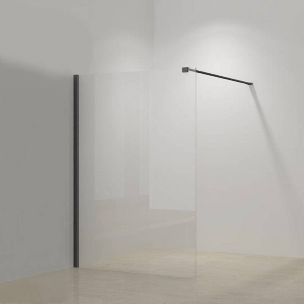 Inloopdouche Megaline Black 100x200cm Helder Glas Met Wandbeugel van Megaline