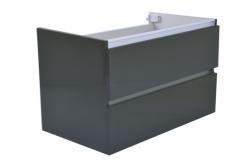 Wiesbaden Vision badkamer onderkast+ 2 laden 80x46 hoogglans grijs