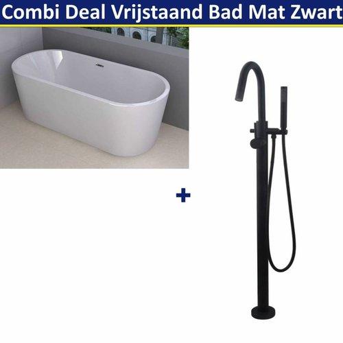 Combi Deal Vrijstaand Ligbad Libero 178x80 cm Mat Zwart