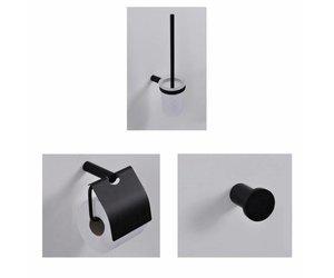Toilet Accessoires Set : Toilet accessoires set wiesbaden mat zwart megadump tiel