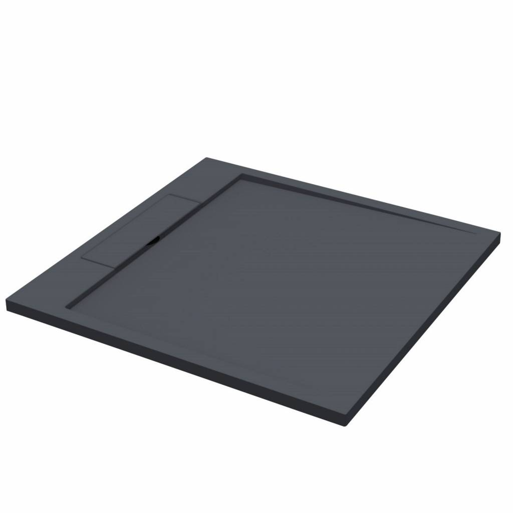 Douchebak Best Design Decent 90x90x3.5 cm Solid Surface Mat Zwart