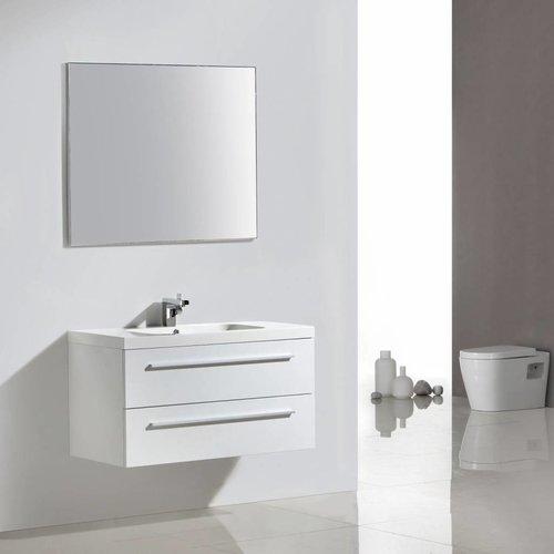 Badkamermeubelset Sanilux Aktie met Spiegel en Wastafel 100x50 cm Hoogglans Wit