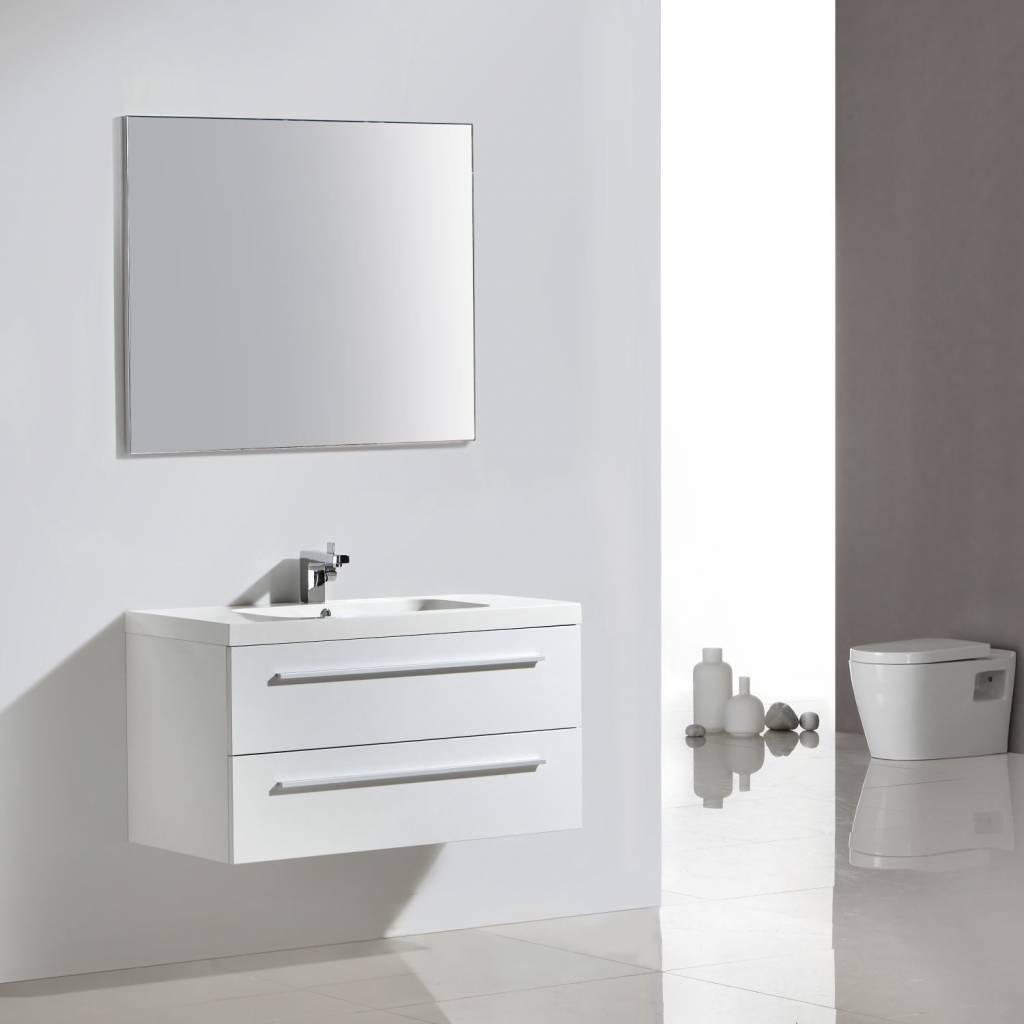 badkamermeubel met spiegel met spiegel Sanilux met Spiegel en Wastafel 100x50 cm Hoogglans Wit Sanilux
