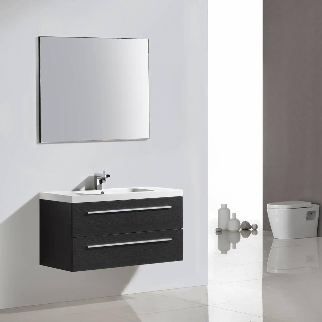 badkamermeubel met spiegel met spiegel Sanilux met Spiegel en Wastafel 100x50 cm Antraciet Sanilux