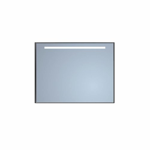 Badkamerspiegel Sanicare Q-Mirrors 'Warm White' LED-Verlichting 70x70x3,5 cm Zwarte Omlijsting