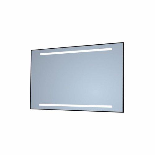 Badkamerspiegel Sanicare Q-Mirrors Twee Horizontale Banen 'Warm White' LED-Verlichting 70x60x3,5 cm Zwarte Omlijsting