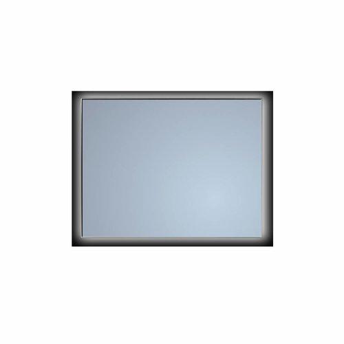 Badkamerspiegel Sanicare Q-Mirrors Ambiance 'Cool White' LED-verlichting Handsensor Schakelaar 70x85x3,5 cm Zwarte Omlijsting