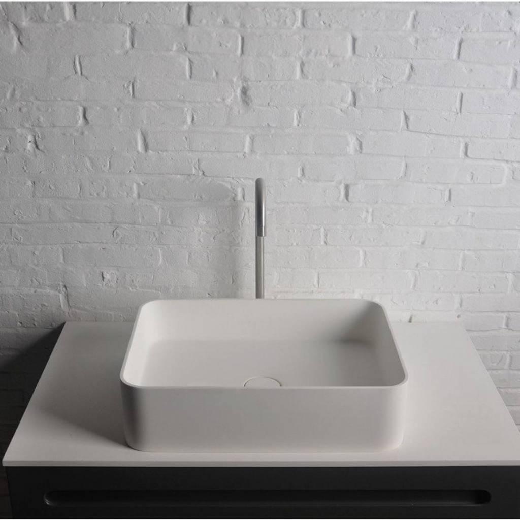 Opbouwwastafel Ideavit Solidthin 50x35x12.5 cm Solid Surface Mat Wit Ideavit