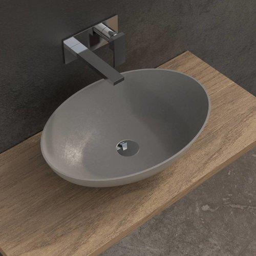 Opbouw Waskom Ideavit Solidthin 60x40x14.5 cm Solid Surface Mat Licht Grijs