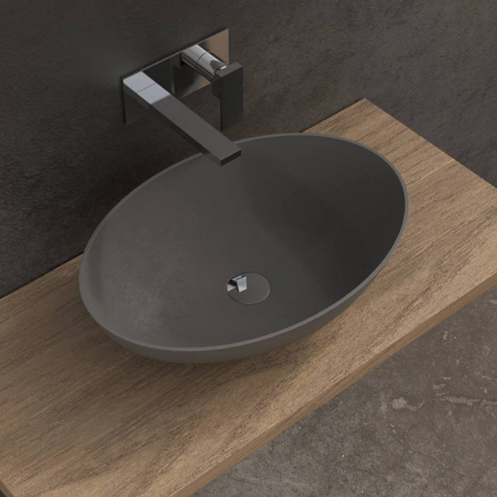 Opbouw Waskom Ideavit Solidthin 60x40x14.5 cm Solid Surface Mat Donker Grijs van Ideavit