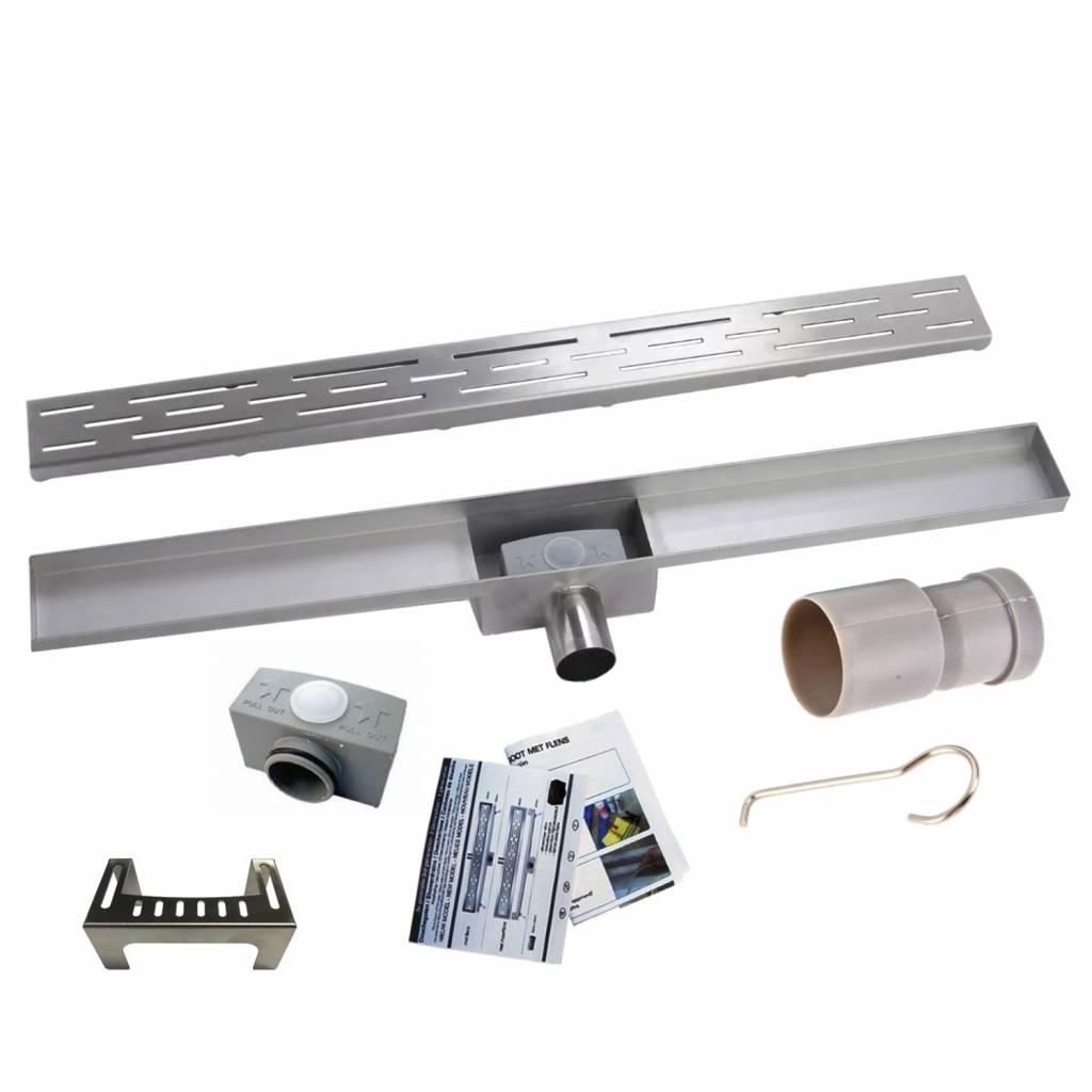 RVS Douchegoot BASIC met uitneembaar sifon 50x7cm 6,7cm diep STANDAARD ROOSTER kopen met korting