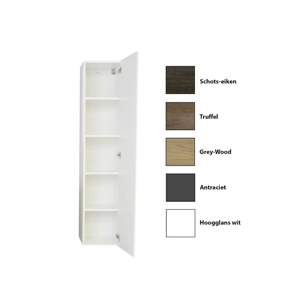badkamer kolomkast Sanicare Q15 1 Soft-Closing Deur 160x33,5x32 cm Grey-Wood Sanicare