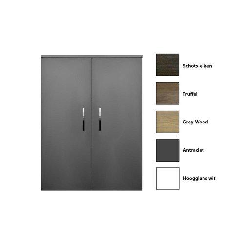 Kolomkast Sanicare Q6/Q14 2-Deurs Soft-Closing Chromen Greep 90x67x32 cm Grey-Wood