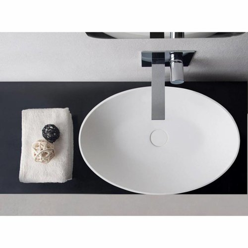 Opbouwwastafel Ideavit Solidthin 60x40x14.5 cm Solid Surface Mat Wit