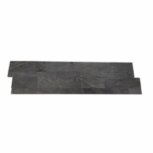 Natuursteen Steenstrips Rockwall Hong Kong Metal Nero 60x15cm (Doosinhoud 0.90 m2)