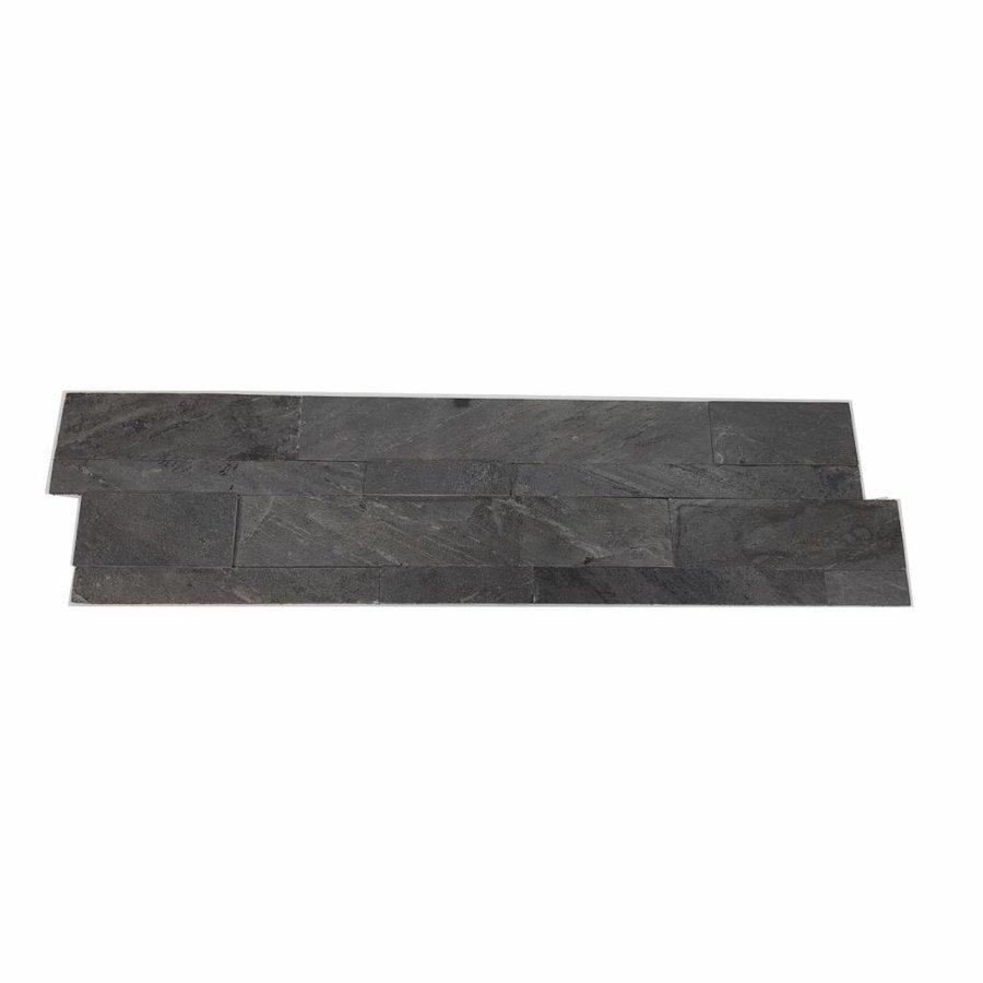 Steenstrips Natuursteen Look Rockwall Hong Kong Metal Nero 60x15cm Prijs P/m2