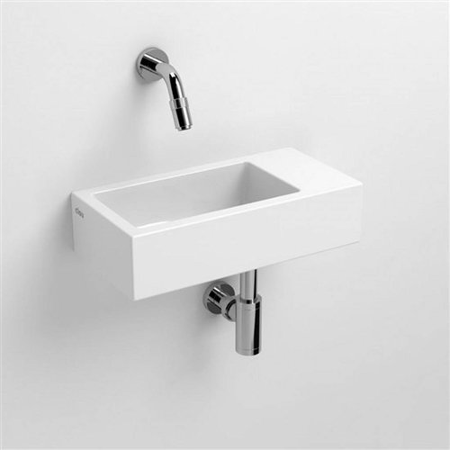 Fontein Clou Flush 3 36x18x9cm Rechts Keramiek Glans Wit (Zonder Kraangat)