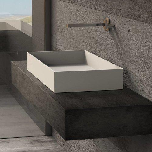 Opbouw Waskom Ideavit Solidjoy 75x37,5x11 cm Solid Surface Mat Wit