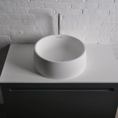 Opbouw Waskom Ideavit Solidquod 42x15 cm Inclusief Overloop Solid Surface Mat Wit